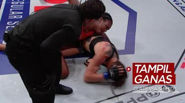 Berita video highlights kemenangan atlet tinju wanita peraih 2 medali emas Olimpiade, Claressa Shields, dalam laga perdananya di MMA (Mixed Martial Arts).