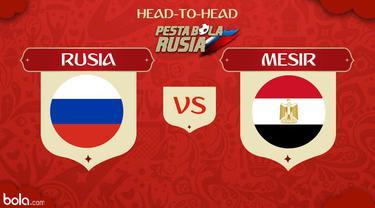 Berikut head to head kekuatan sebelum pertandingan antara Rusia vs Mesir di Piala Dunia 2018.