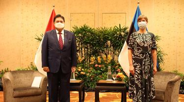 Menteri Koordinator Bidang Perekonomian Airlangga Hartarto bertemu dengan Presiden Estonia Kersti Kaljulaid. Dok Kemenkoperekonomian