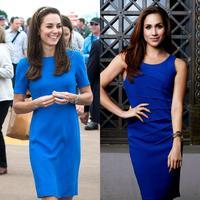 Kate Middleton dan Meghan Markle sama-sama cantik menggunakan gaun berwarna biru. (Getty Images/Cosmopolitan)