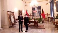 Menteri Luar Negeri dan Kerja Sama Republik Demokratik Timor Leste, Aurelio Guterres dalam kunjungannya ke Jakarta, melakukan breakfast meeting dengan Menteri Luar Negeri RI Retno Marsudi di Gedung Pancasila, Kemenlu RI. (Liputan6.com/Afra Augesti)