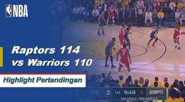 Berita video cuplikan pertandingan game 6 Final NBA 2019 antara Toronto Raptors melawan Golden State Warriors yang berakhir dengan skor 114-110 di Oracle Arena, Oakland, Jumat (14/6/2019) pagi hari WIB.