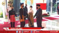 Ketua DPR Puan Maharani mengenakan baju adat Bali saat menyambut Presiden Jokowi dan Wapres Ma;ruf Amin di Sidang Tahunan MPR 2021. (Istimewa)