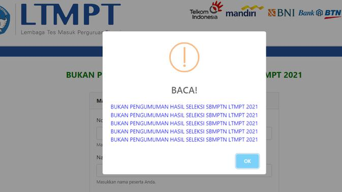 Tangkapan layar halaman aplikasi pengumuman SBMPTN Tiruan.