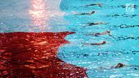 Sejumlah perenang menarik bendera Merah Putih saat pembukaan Indonesia Open Aquatic Championship 2017 di Stadion Aquatic GBK, Jakarta, Selasa (5/12). Ajang ini merupakan test event jelang Asian Games 2018. (Liputan6.com/Helmi Fithriansyah)