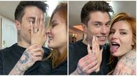 Bella Thorne memamerkan cincin tunangan setelah resmi dilamar oleh Benjamin Mascolo. (dok. Instagram @bellathorne)