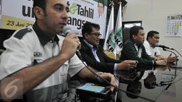 "DPP PKB menggelar konferensi pers terkait acara ""Sholawat dan Tahlil untuk Bangsa"", Jakarta, Rabu (17/6/2015). Rencana acara tersebut akan digelar pada 23 Juni mendatang. (Liputan6.com/Johan Tallo)"