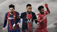 Lionel Messi, Neymar dan Mohamed Salah. (Bola.com/Dody Iryawan)