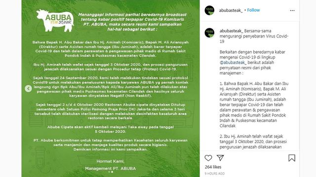 Pernyataan Resmi Abuba Steak