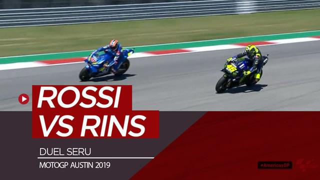 Berita video momen duel antara Valentino Rossi dengan Alex Rins yang berlangsung seru di balapan MotoGP Austin 2019, Minggu (14/4/2019).