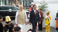 Jokowi menyambut Perdana penteri India (Liputan6.com/Hanz Jimenz Salim)