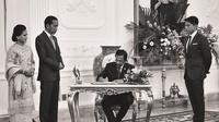Pangeran Abdul Mateen bersama Sultan Hassanal Bolkiah, Presiden Joko Widodo dan Ibu Negara Iriana (Instagram/ https://www.instagram.com/tmski/?hl=en)