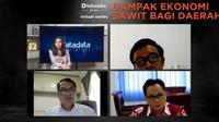 Diskusi Katadata Virtual Forum Series dengan tema Dampak Ekonomi Sawit bagi Daerah, Kamis (28/1/2021).