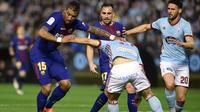Barcelona bermain 2-2 kontra Celta Vigo pada laga pekan ke-33 La Liga Spanyol, di Estadio de Balaidos, Selasa (17/4/2018) waktu setempat. (AFP/Miguel Riopa)
