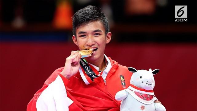 Rifki Ardiansyah, penyumbang emas ke-11 Asian Games 2018 Cabang Olahraga Karate Kumite Putra 60 Kilogram.