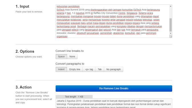 Layanan removelinebreaks.net untuk mengatasi masalah teks berantakan saat menyalin dari dokumen PDF