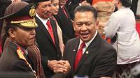 Ketua MPR RI Bambang Soesatyo usai menghadiri pelantikan Jenderal Idham Azis sebagai Kapolri, di Istana Negara, Jakarta, Jumat (1/11/19).