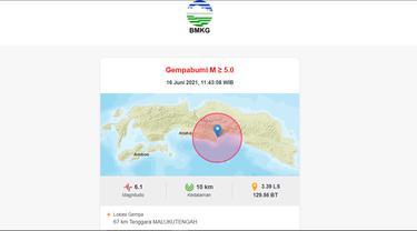 Gempa magnitudo 6,1 mengguncang tenggara Maluku Tengah, Rabu (16/6/2021). (BMKG)