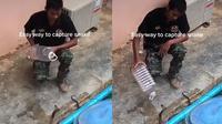 Tangkap ular kobra dengan botol minum (Sumber: TikTok/positivedothub)