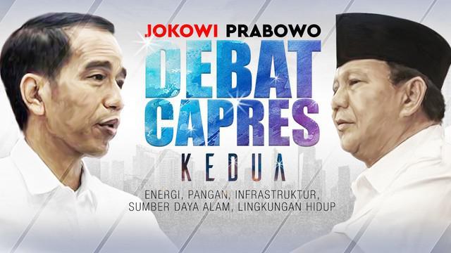 Debat kedua Pilpres 2019 dengan tema Energi, Pangan, Infrastruktur, Sumber Daya Alam, dan Lingkungan Hidup berlangsung di Hotel Sultan, Jakarta.