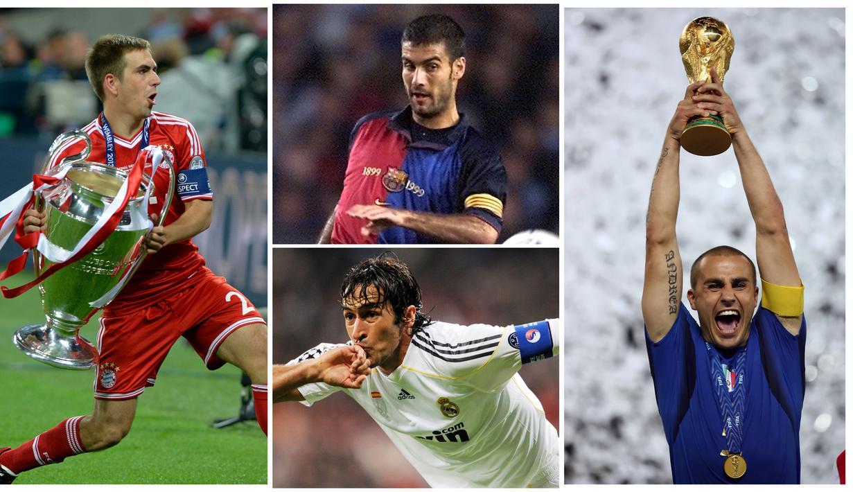 Berikut ini para pesepak bola top dunia yang pernah menjadi anak gawang. Diantaranya ada Fabio Cannavaro, Raul Gonzales dan Pep Guardiola. (Foto Kolase AFP)
