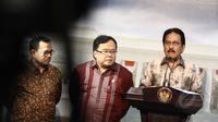 Menko Perekonomian Sofyan Djalil (kanan), didampingi Menkeu Bambang Brodjonegoro (tengah) dan Menteri ESDM Sudirman Said (kiri) memberi keterangan pers usai menghadiri rapat terbatas di Kantor Presiden, Jakarta, Senin (16/3). (Liputan6.com/Faizal Fanani)