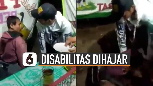 Pelaku terus-menerus menghajar pria disabilitas itu hingga nyaris mengobrak-abrik lapak.