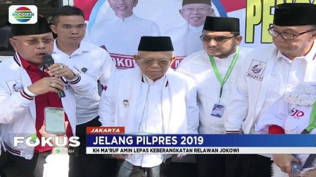 Ma'ruf Amin lepas rombongan Relawan Jokowi yang akan memberikan bantuan untuk korban bencana di Pandeglang dan Sukabumi.