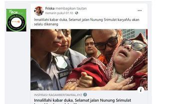 Cek Fakta Liputan6.com menelusuri informasi artikel kabar duka selamat jalan Nunung Srimulat