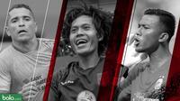 3 pemain terbaik Piala GUbernur Kaltim: Teja Paku Alam, Rishadi Fauzi dan Alberto Goncalves. (Bola.com/Dody Iryawan)