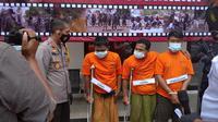 Kapolres Bangkalan AKBP Didik Hariyanto saat gelar perkara Begal Online di Mapolres Bangkalan,Jumat, 8 Januari 2020.