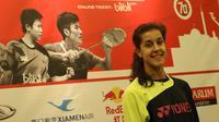 Pebulutangkis tunggal putri Spanyol, Carolina Marin, saat hadir dalam konferensi pers jelang Kejuaraan Dunia Bulutangkis 2015 di Hotel Sultan, Jakarta. Minggu (9/8/2015). (Bola.com/Arief Bagus)