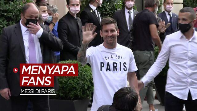 Berita video momen Lionel Messi menyapa fans yang berada di luar hotel mewah tempat La Pulga dan keluarga menginap di Paris, Prancis, Selasa (10/8/2021) sore hari waktu setempat.