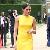 Cerahkan hari! Meghan Markle benar-benar terlihat cerah dan segar dalam balutan dress berwarna kuning. (REX/SHUTTERSTOCK/HollywoodLife)
