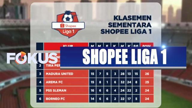 Bali United menduduki puncak klasemen sementara di pekan ke-16 Shopee Liga 1.