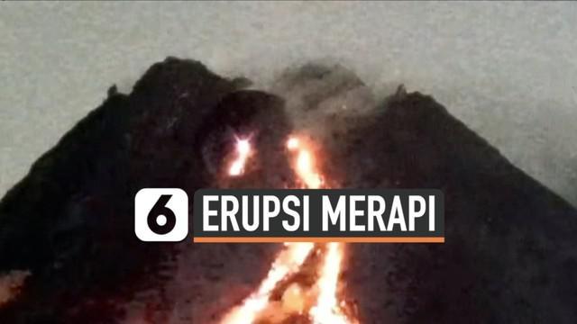 Aktivitas vulkanik Gunung Merapi tampak dari rekaman CCTV Rabu 917/2) hingga Kamis (18/2) dini hari. Luncuran lava pijar hingga berjarak 1 kilometer.