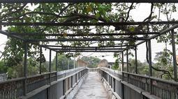 Suasana jembatan penyeberangan orang tanpa atap dan tidak terawat di Jalan TB Simatupang, Jakarta, Rabu (10/10). Kondisi tersebut menyebabkan JPO terkesan kumuh serta mengurangi kenyamanan pejalan kaki. (Liputan6.com/Immanuel Antonius)