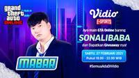 Live streaming mabar GTA V bersama Sonalibaba, Sabtu (27/2/2021) pukul 19.00 WIB dapat disaksikan melalui platform Vidio, laman Bola.com, dan Bola.net. (Dok. Vidio)