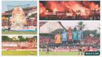 Kolase - Suporter PSM Makassar di Stadion Mattoangin (Bola.com/Adreanus Titus)