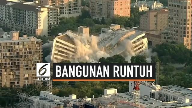 Sebuah bangunan bank runtuh di Dallas, Texas. Runtuhnya bangunan tua tersebut ternyata disengaja dan dilakukan dengan cara diledakkan. Meski sengaja diruntuhkan, warga sekitar sempat heboh dengan peristiwa ini.