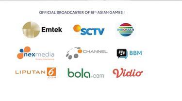 Asian Games 2018 akan ditayangkan Emtek (SCTV, Indosiar, Nexmedia, dan O Channel) dan juga di Liputan6.com, Bola.com, dan Vidio.com