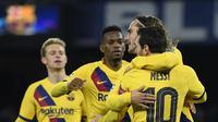 Pelatih Barcelona, Quique Setien, mengaku akan menerapkan permainan agresif saat menghadapi Napoli pada leg kedua babak 16 besar Liga Champions 2019-2020. (AFP/Filippo Monteforte)