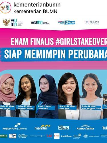 Keenam perempuan ini akan mengambil alih pekerjaan atau take over pekerjaan para pimpinan dalam program #GirlsTakeOver.