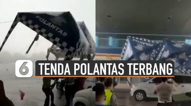 Video tenda Polantas terbang tersapu angin kencang viral di media sosial.