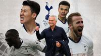 Tottenham Hotspur - Jose Mourinho dan Pemain Tottenham Hotspur (Bola.com/Adreanus Titus)