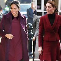 Simak komparasi penampilan Kate Middleton dan Meghan Markle dalam busana maroon (Foto: instagram/marieclairemag)