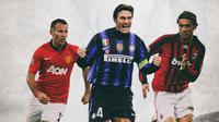 Pemain Veteran Terbaik - Ryan Giggs, Javier Zanetti, Paolo Maldini (Bola.com/Adreanus Titus)
