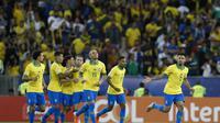 Selebrasi Pemain Brasil saat bertemu Peru di final Copa America 2019 (AP)