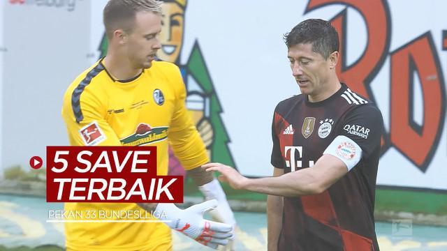 Berita video 5 save terbaik yang terjadi pada pekan ke-33 Bundesliga 2020/2021, salah satunya aksi dari kiper Freiburg saat menghalau tembakan Robert Lewandowski.