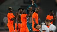 Timnas Jerman harus puas bermain imbang 1-1 kontra Pantai Gading pada laga terakhir Grup D cabang olahraga sepak bola Olimpiade Tokyo 2020 di Miyagi Stadium, Rabu (28/7/2021) sore WIB. (AP Photo/Andre Penner)